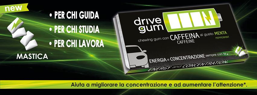 Drive Gum, an energizing chewing gum with mint taste that combines the power of caffeine. Stamerra.it